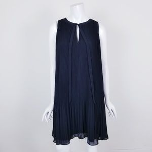NWT LOFT Black Pleated Sleeveless Midi Shift Dress
